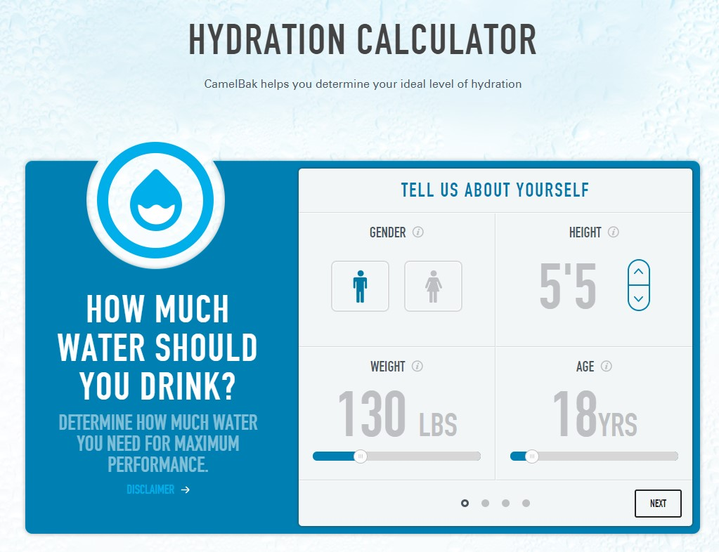 camelbak hydration calculator 1