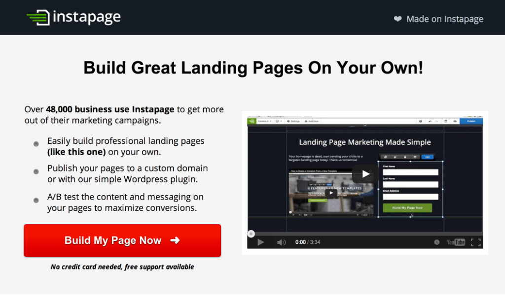 high converting landing page instapage