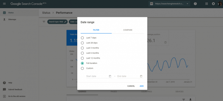 search console date range