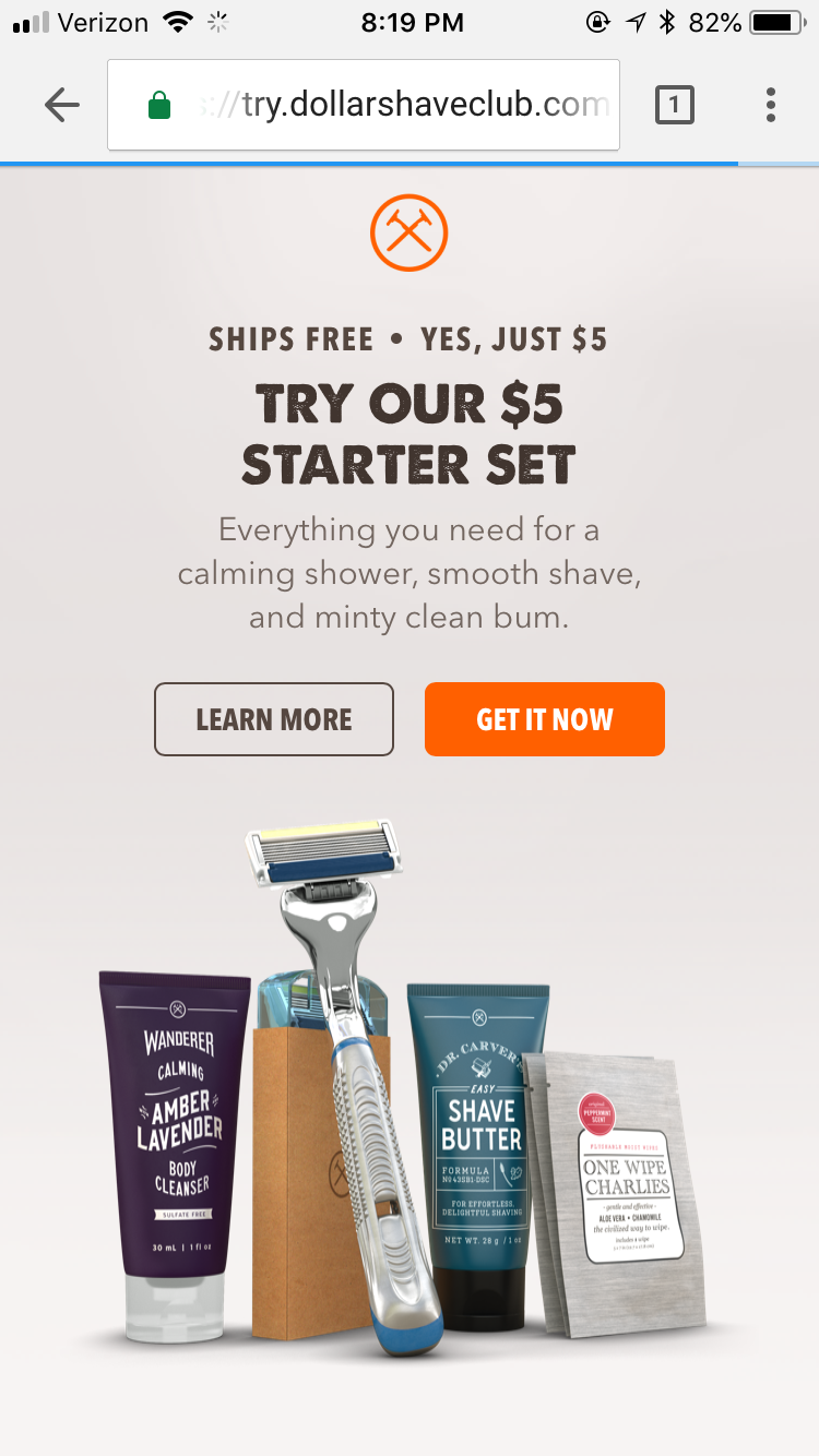 call to action button dollar shave