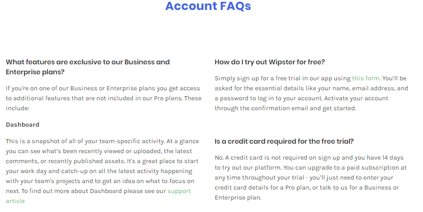 Account FAQs sales page that convert