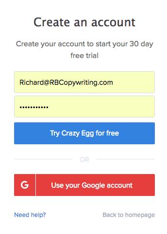 heat map crazy egg-account