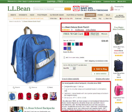 LL Bean Product Page Example