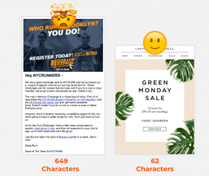 design tips short vs. long email copy