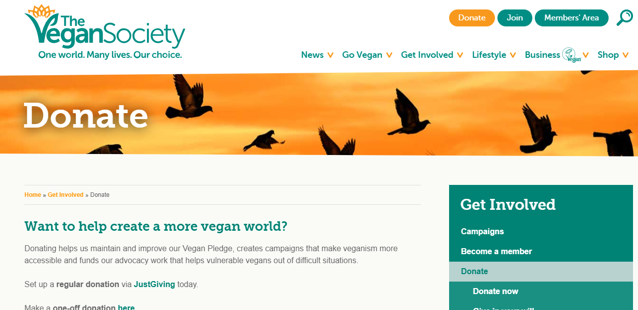 landing-page-design-vegan-society
