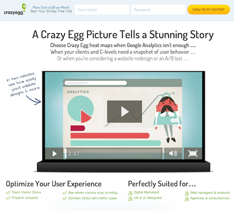 Crazy Egg homepage redesign