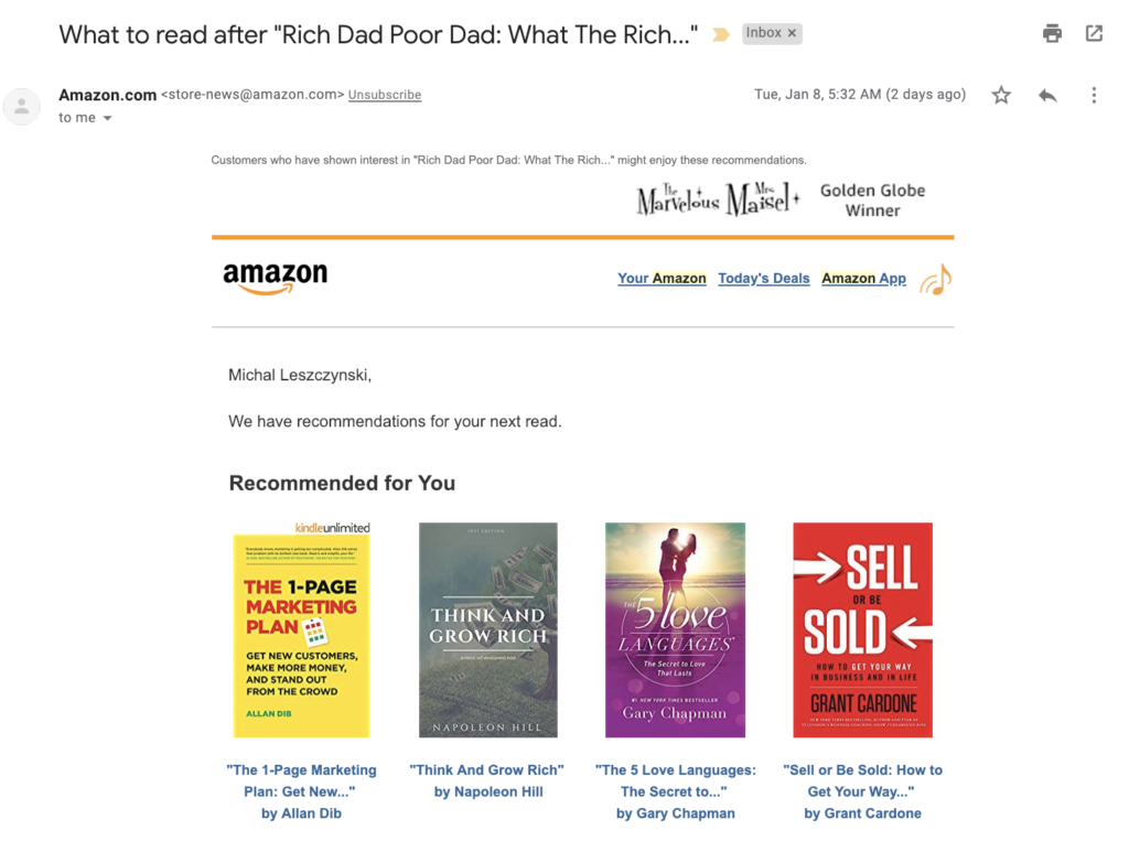 ecommerce recommendation email amazon books