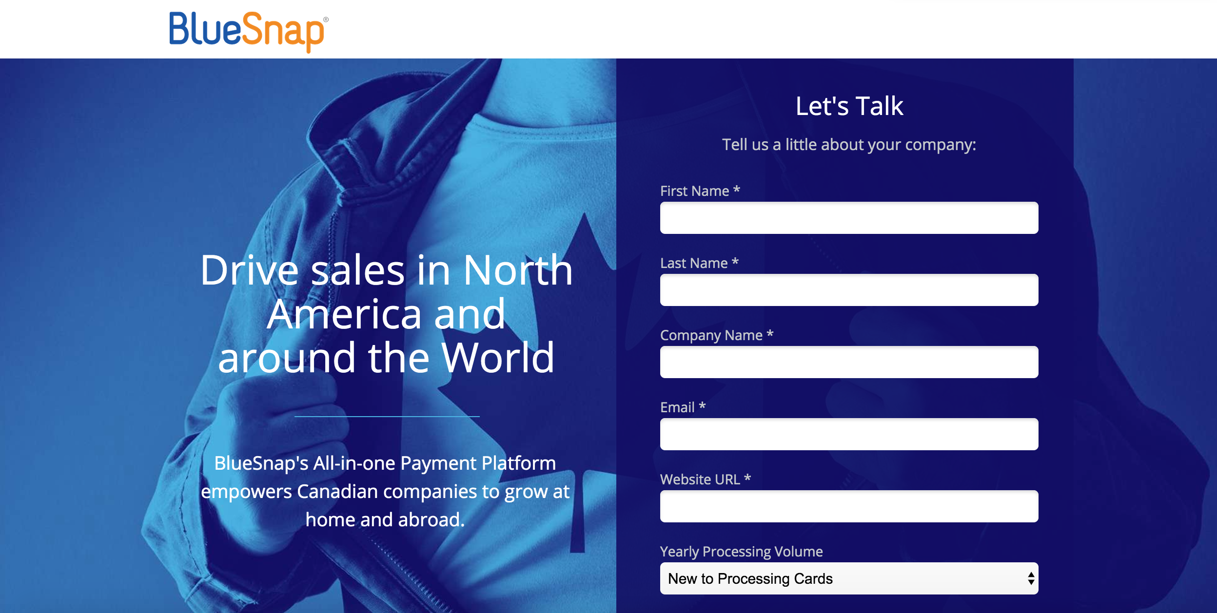 BlueSnap landing pages
