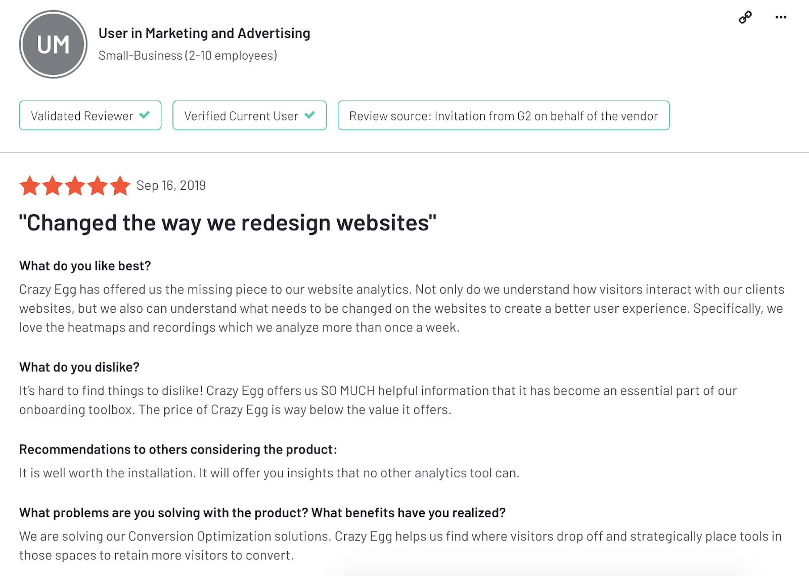 "Crazy Egg reviews: ""Changed the way we redesign websites"""