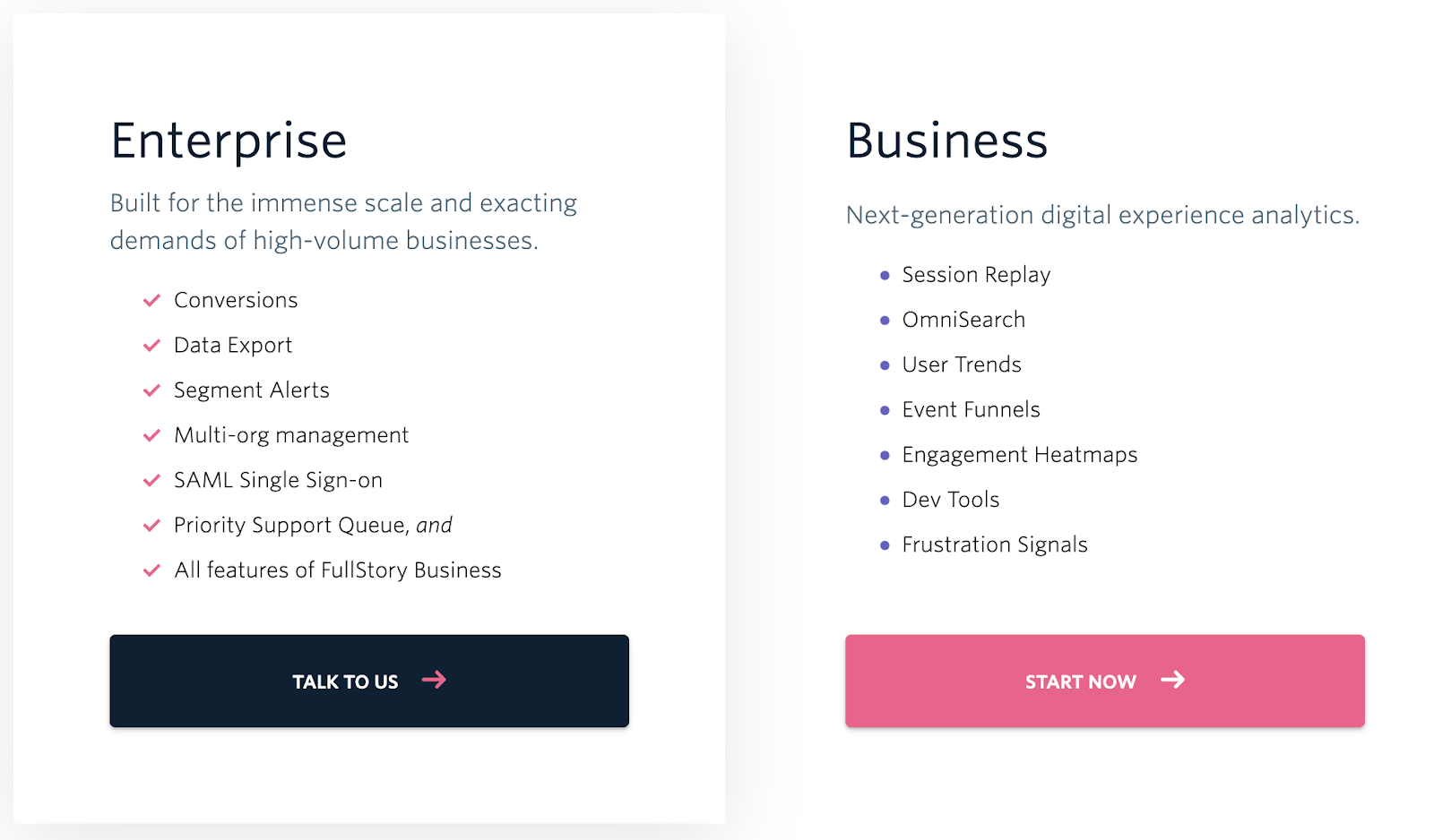 FullStory has an Enterprise plan and a Business plan; reach out for pricing.