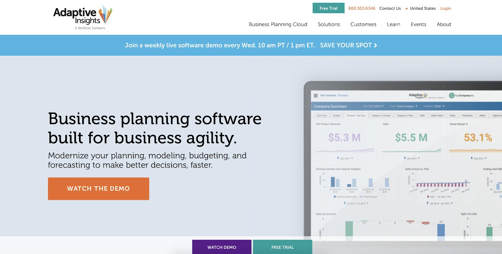 SaaS analytics tools: Adaptive Insights