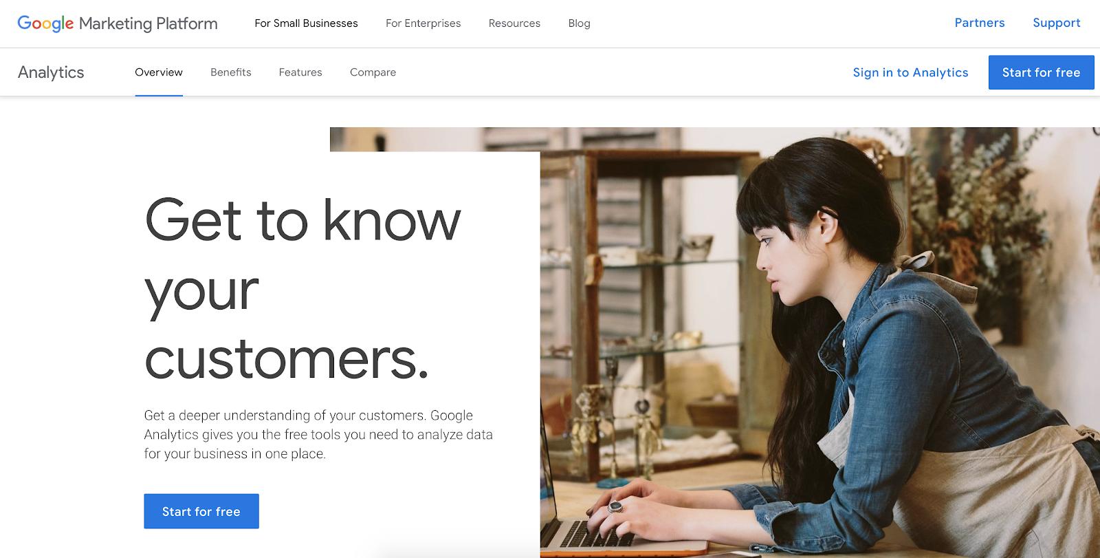 Website visitor tracking software: Google Analytics