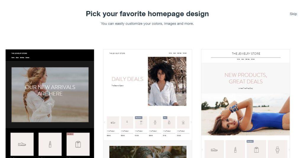 wix homepage design