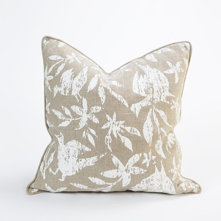 Natural and White Throw Pillow Cover