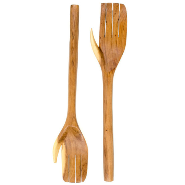 carved hands salad set 2