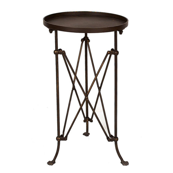 metal round accent table