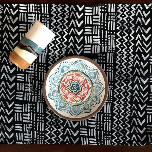 black and white block print dinner napkins 1