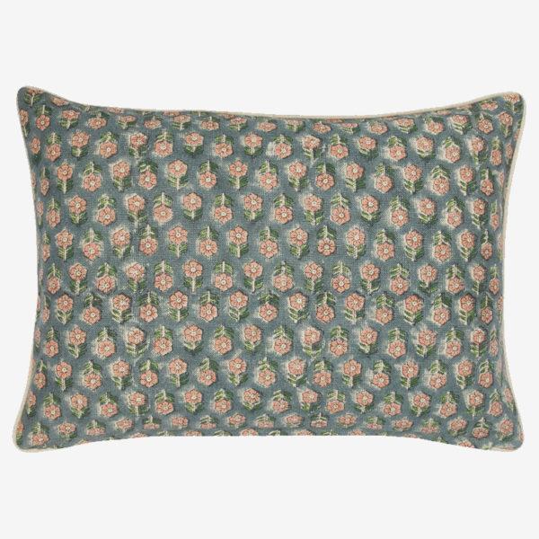 tulsi teal coral pillow
