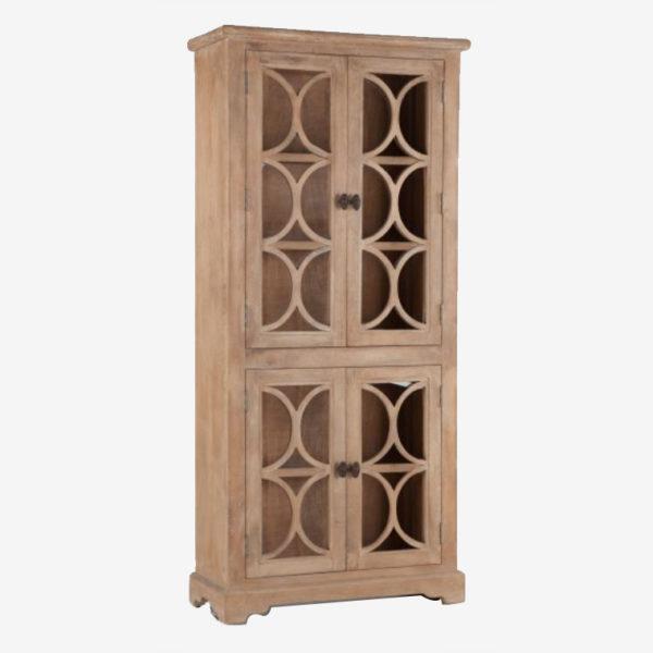 Tall-Antique-Oak-Glass-Cabinet