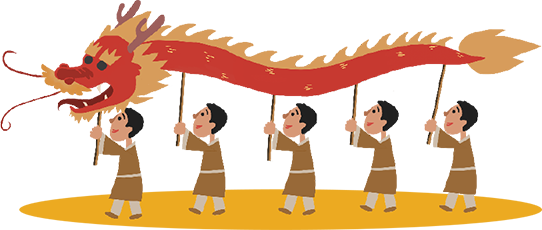 Cartoon of men carrying a paper dragon