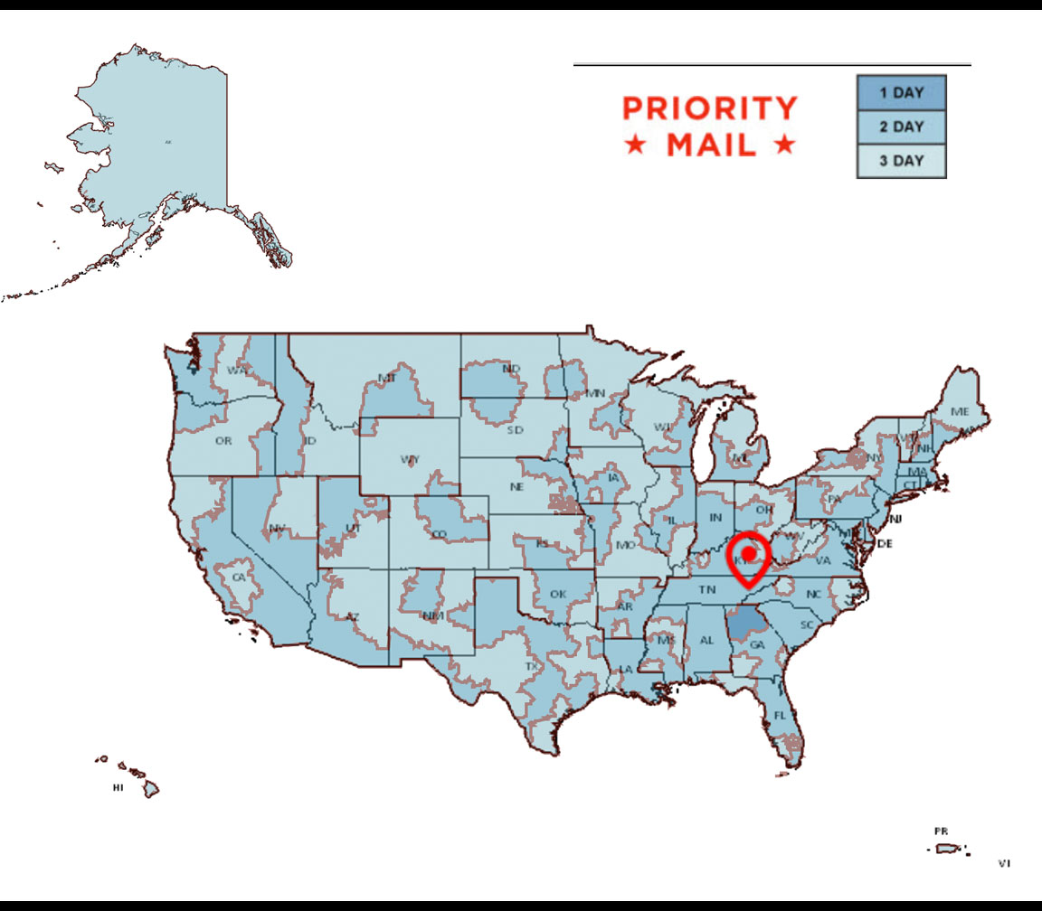 USPS Priority Mail Map
