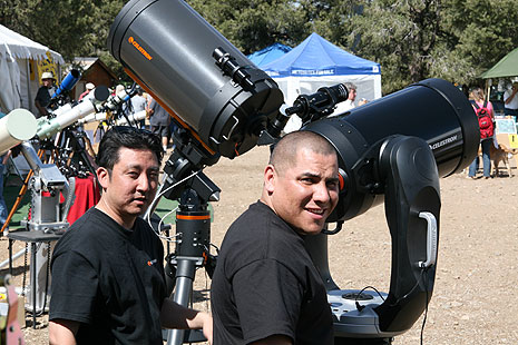Celestron Repair Supervisor, Kevin Kawai (left) and Repair Technitian Hector Antuna