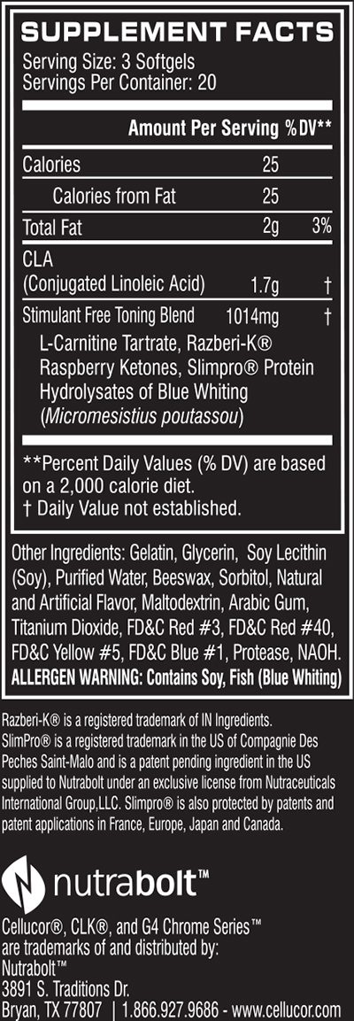 Cellucor CLK Fourth Generation Supplement Facts