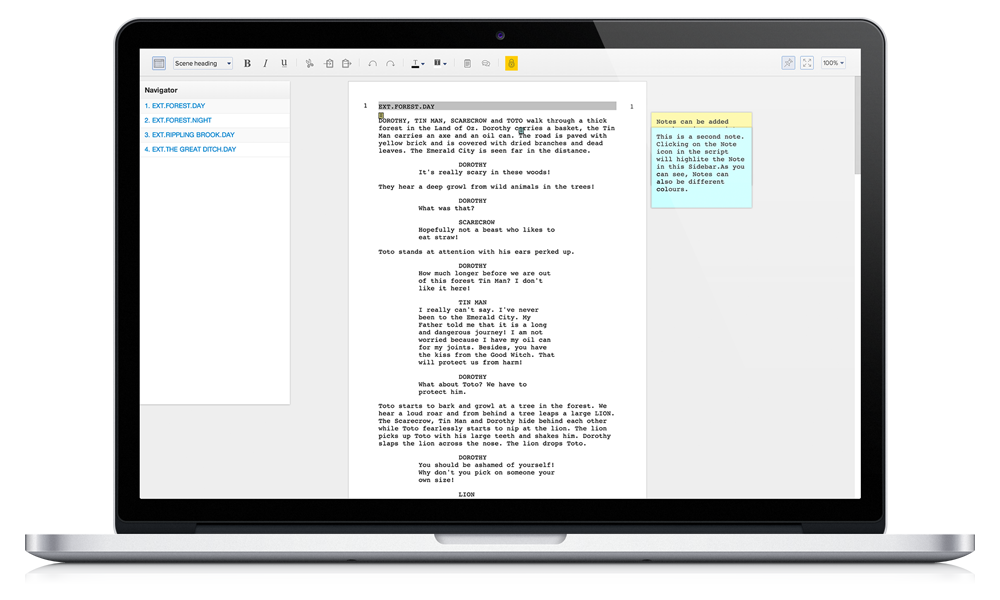 free film script writing software