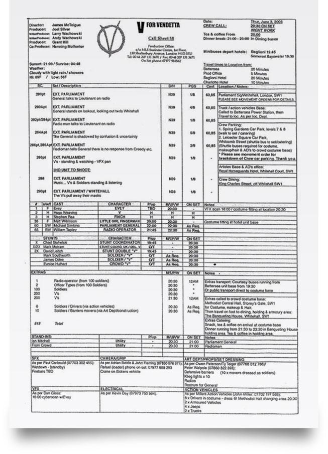 V for Vandetta call sheet sample