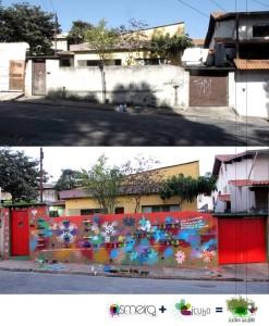 """Intervenção urbana, graffiti, jardim vertical,  sustentabilidade, revitalização de um muro do  bairro, essas são apenas algumas das ações  desenvolvidas com os jovens do Programa  na experimentação """"Jardim Graffiti"""", com os  assessores Juliana Pirani e Paulo Meira."""