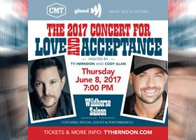 Press Release: 2017 Concert for Love and Acceptance adds  Mickey Guyton, Dana Goldberg, and Trent Harmon