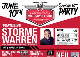 Press Release: Storme Warren & Montgomery Gentry team up with Music City Indian for Warren Peace Motorcycle Ride, June 10