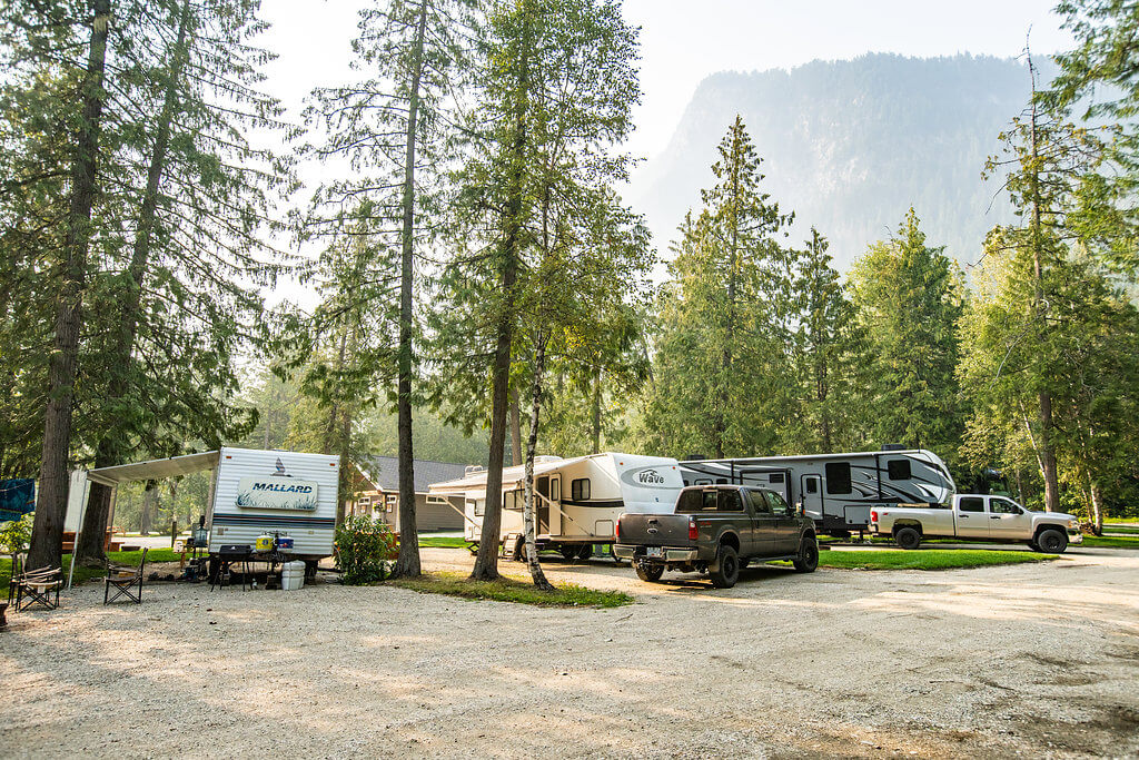 Rv site with trailers