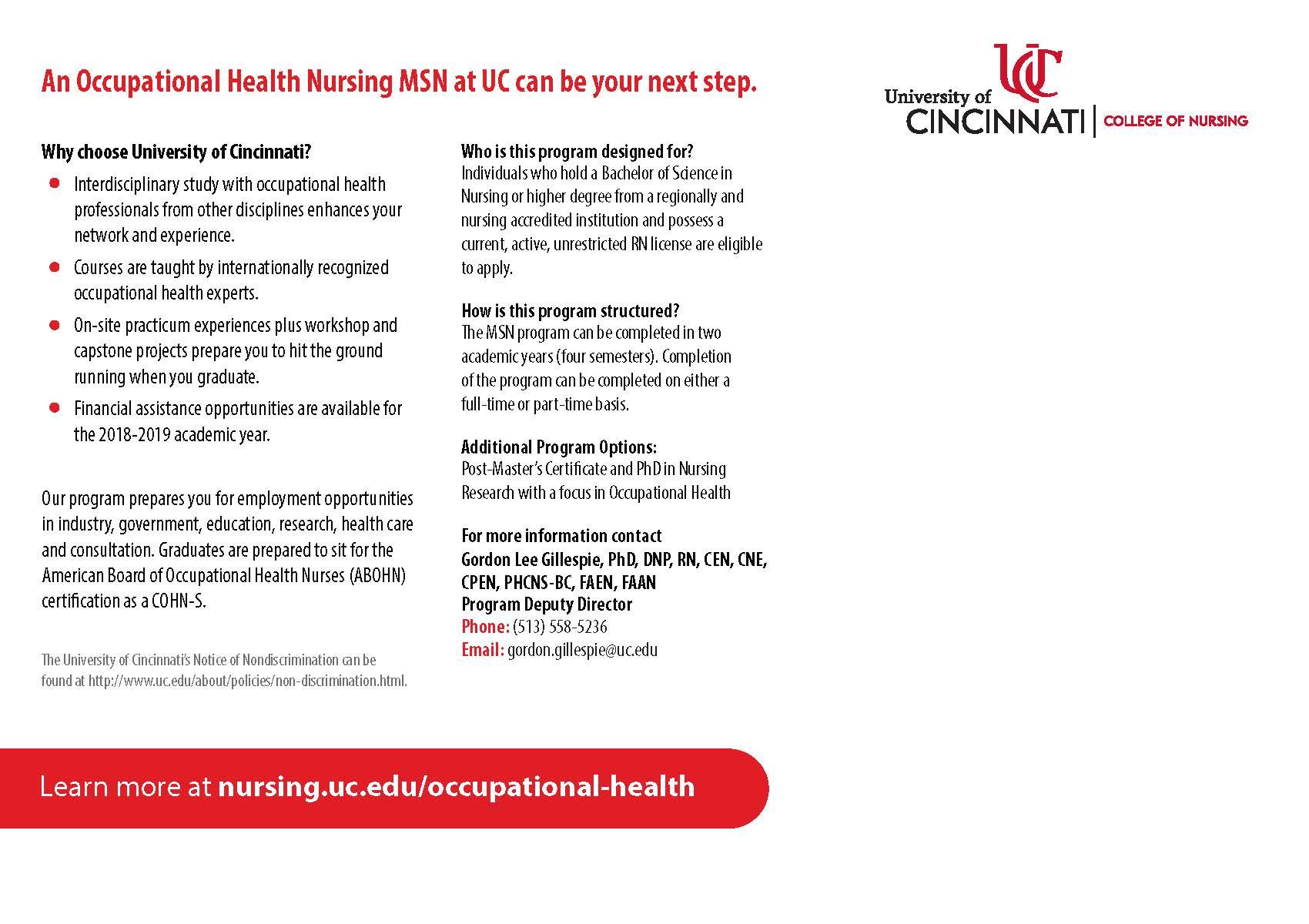 Occupational Health Msn Program Accepting Applications