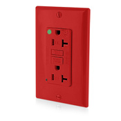 Leviton T7899-HGRQuickPort® Decora® Extra Heavy Duty Tamper-Resistant Duplex Ground Fault Circuit Interrupter; Screw Mount, 125 Volt, 20 Amp, 2 -Pole, 3 -Wire, NEMA 5-20R, Red