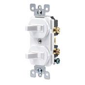 Leviton 5224-WSP Double Toggle Switch, 2 Pole, 15 Amp, White