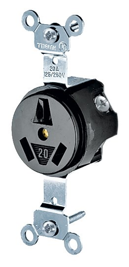 Hubbell HBL6810 Single Receptacle, 20A, 125/250V, Non-Grounding, Black