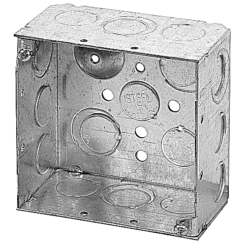 Steel City 521711234E 4 In Square Pre-galvanized Steel Box with MS Bracket; 1/2 In & 3/4 In Knockouts
