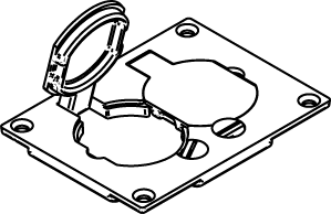 Wiremold 828R Walker Duplex Receptacle, 1-Gang Floor Box Cover