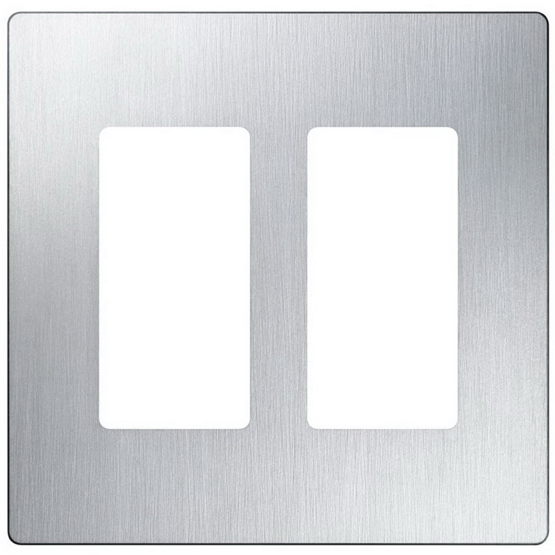 Lutron CW-2-SS Designer Claro 2-Gang Screwless Decorator Wallplate Wall Mount Plastic Stainless Steel