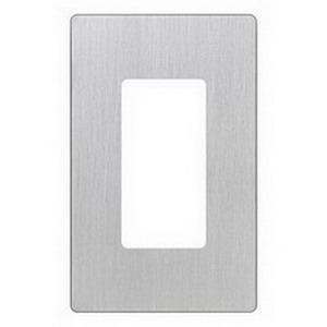 Lutron CW-1-SS Designer Claro® 1-Gang Screwless GFCI Decorator Wallplate; Device Mount, Thermoplastic, Stainless Steel