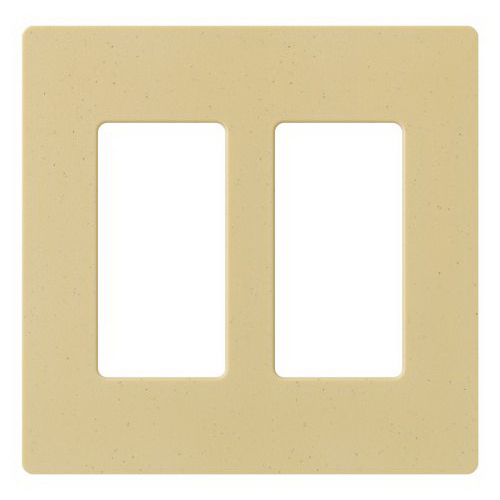 Lutron SC-2-GS Designer Satin Colors® 2-Gang Screwless Decorator Wallplate; Wall Mount, Plastic, Gold Stone