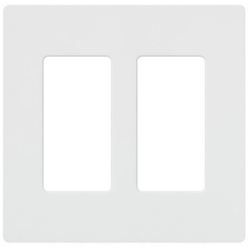 Lutron CW-2-WH Designer Claro® 2-Gang Screwless Decorator Wallplate; Wall Mount, Plastic, White