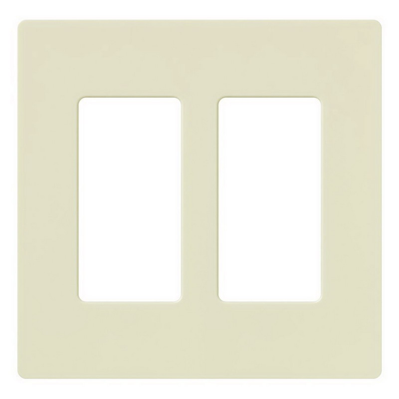 Lutron CW-2-AL Designer Claro® 2-Gang Screwless Decorator Wallplate; Device Mount, Plastic, Almond