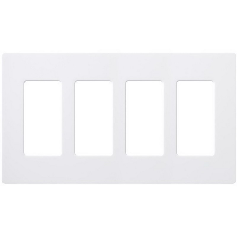 Lutron CW-4-WH Designer Claro® 4-Gang Screwless Decorator Wallplate; Device Mount, Plastic, White