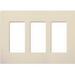 Lutron CW-3-LA Designer Claro® 3-Gang Screwless Decorator Wallplate; Device Mount, Plastic, Light Almond