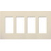 Lutron CW-4-LA Designer Claro® 4-Gang Screwless Decorator Wallplate; Wall Mount, Plastic, Light Almond