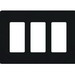 Lutron CW-3-BL Designer Claro® 3-Gang Screwless Decorator Wallplate; Wall Mount, Plastic, Black