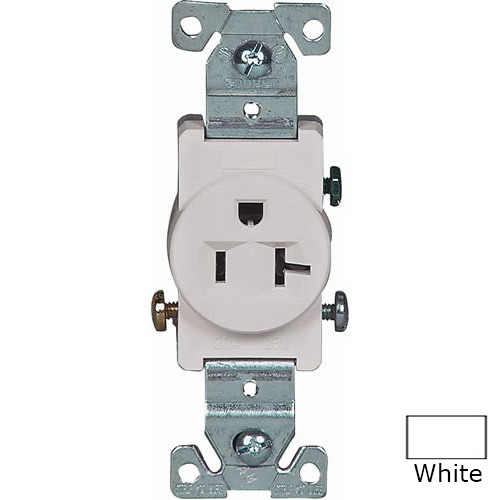 Cooper Wiring 1877W-BOX Arrow Hart™ Double Pole Straight Blade Single Receptacle; Screw Mount, 125 Volt AC, 20 Amp, White