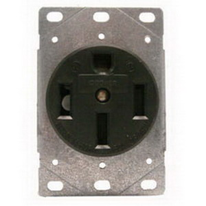 Cooper Wiring 1258-SP Arrow Hart™ Three Pole Straight Blade Single Receptacle; Flush Mount, 125/250 Volt, 50 Amp, Black